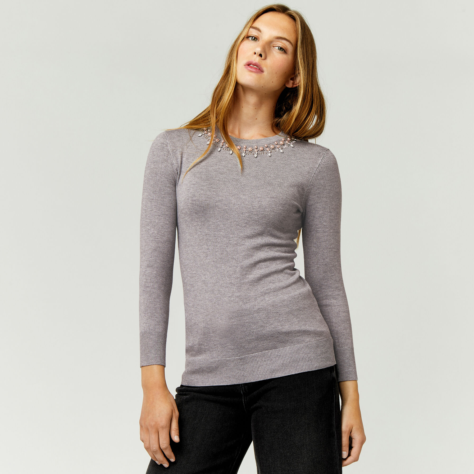 Warehouse, EMBELLISHED PEARL JUMPER Light Grey 1