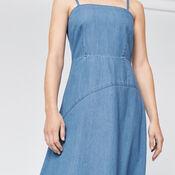 Warehouse, Asymmetric Drapey Dress Mid Wash Denim 4