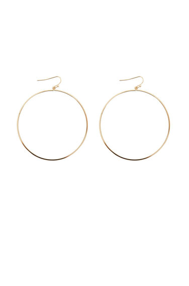 Warehouse, Large Hoop Drop Earrings Gold Colour 0