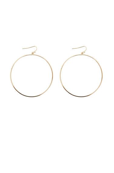 Warehouse, Large Hoop Drop Earrings Gold Colour 0