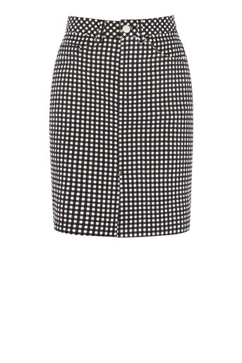 Warehouse, GINGHAM SKIRT Black Pattern 0