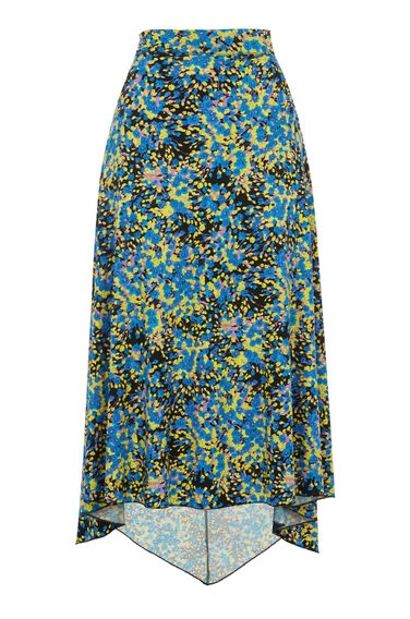 Warehouse, FLOWER BURST MIDI SKIRT Blue Pattern 0