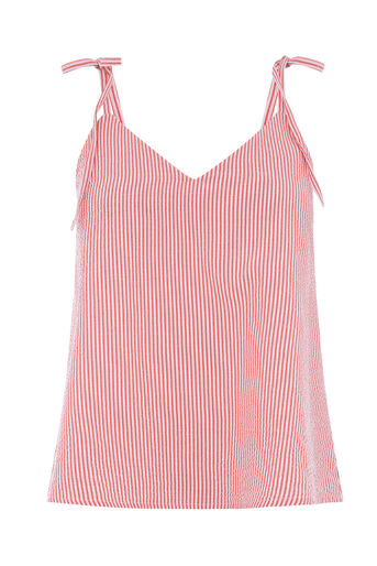 Warehouse, SEERSUCKER STRIPE CAMI Red Stripe 0