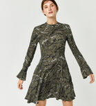 Warehouse, FERN PRINT BABYDOLL DRESS Green Print 1