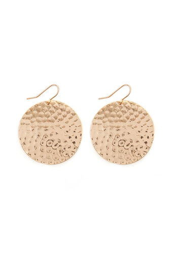 Warehouse, LARGE HAMMERED DISC EARRINGS Gold Colour 0
