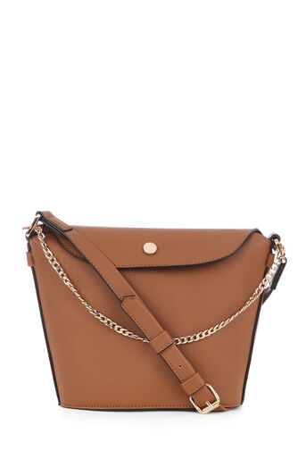 Warehouse, POPPER AND CHAIN BUCKET BAG Tan 0