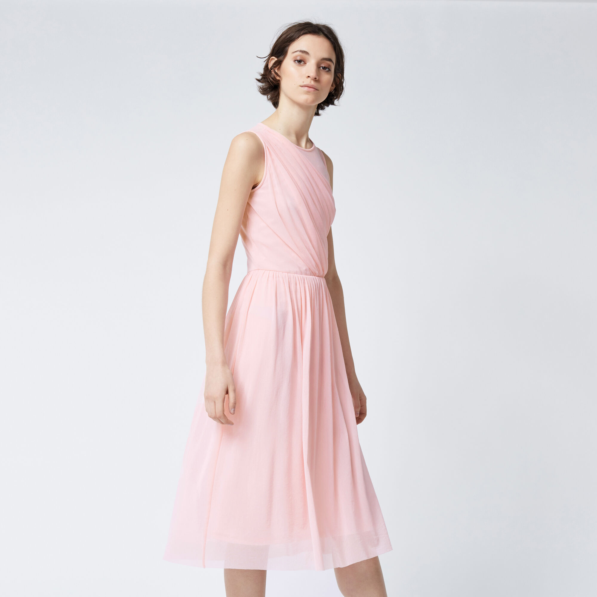 Warehouse, OCCASION MESH WRAP DRESS Bright Pink 1