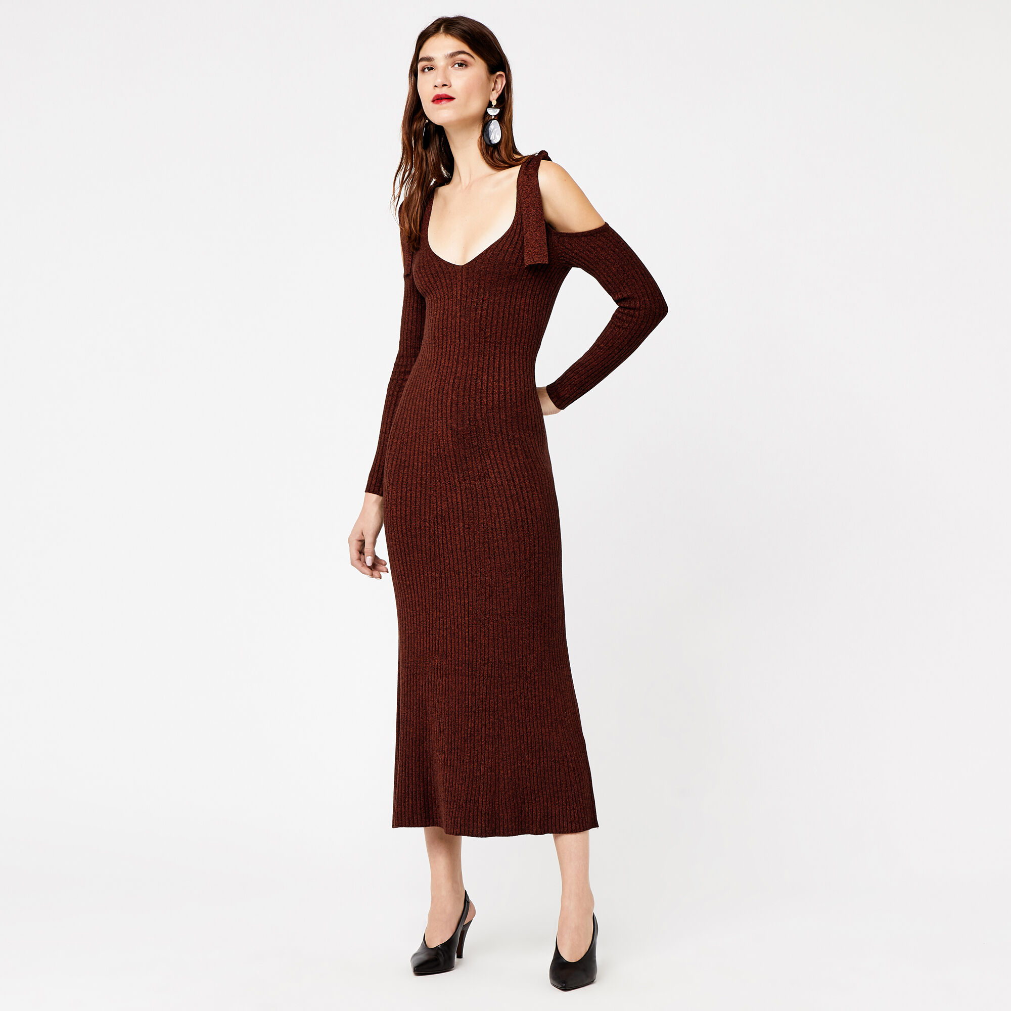 Warehouse, TIE COLD SHOULDER MAXI DRESS Tan 1