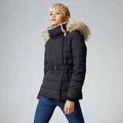 Warehouse, Short Luxe Padded Jacket Black 1