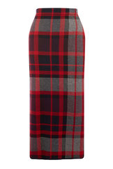 Warehouse, CHECK KNITTED SKIRT Red Pattern 0