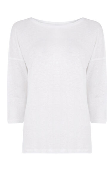 Warehouse, 3/4 SLEEVE LINEN TOP White 0