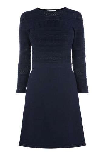Warehouse, POINTELLE DETAIL FLIPPY DRESS Navy 0