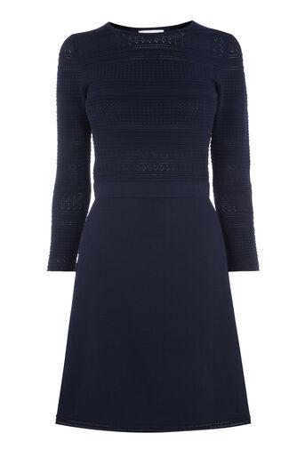 Warehouse, Zwierige jurk met pointelle Marineblauw 0