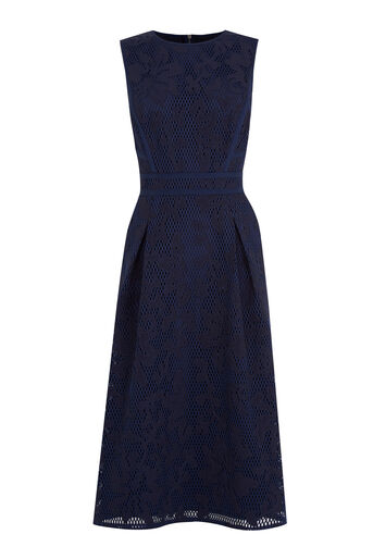 Warehouse, APPLIQUE LACE MIDI DRESS Navy 0