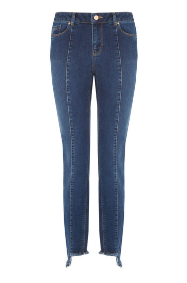 Warehouse, Stepped Hem Jeans Mid Wash Denim 0