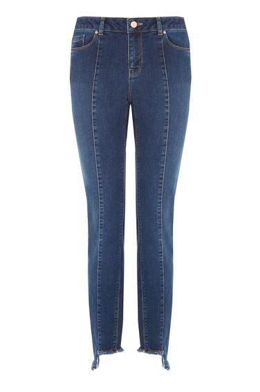 Warehouse, Stepped Hem Jeans Mid Wash Denim 0