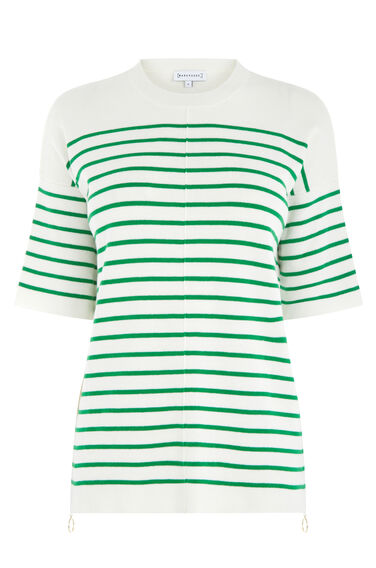 Warehouse, STRIPE ZIP TOP Green Stripe 0