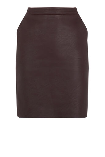 Warehouse, Faux Leather Clean Skirt Dark Red 0