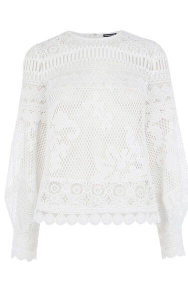 Warehouse, PANELLED LACE TOP White 0