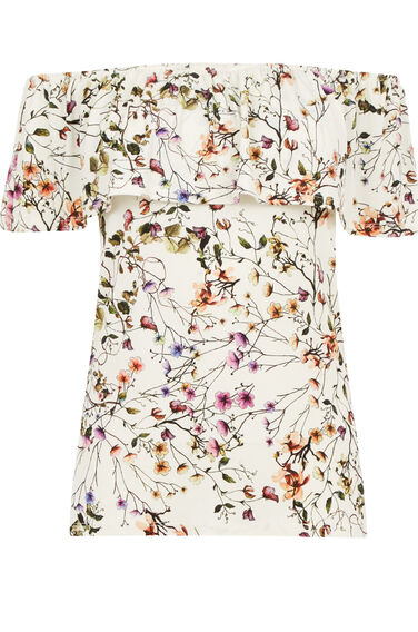 Warehouse, TRAILING FLORAL BARDOT TOP Multi 0