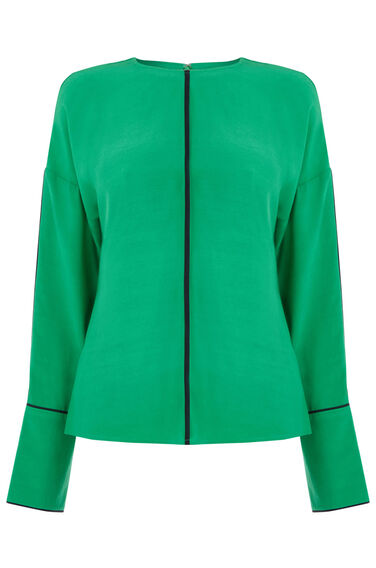 Warehouse, CONTRAST PIPED BOXY TOP Bright Green 0