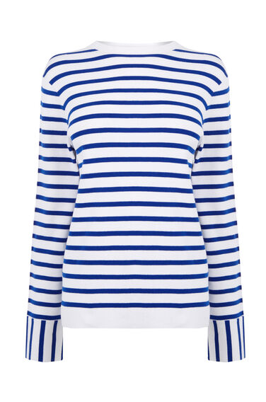 Warehouse, STRIPE HIGH NECK JUMPER Blue Stripe 0