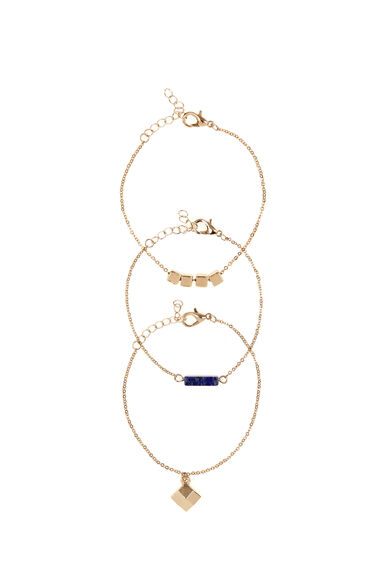 Warehouse, Colour Block Bracelet Pack Gold Colour 0