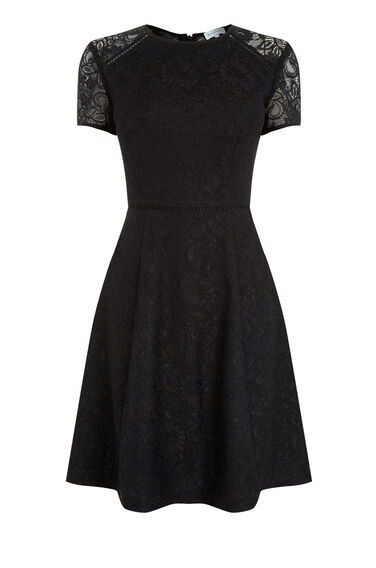 Warehouse, LACE SKATER DRESS Black 0