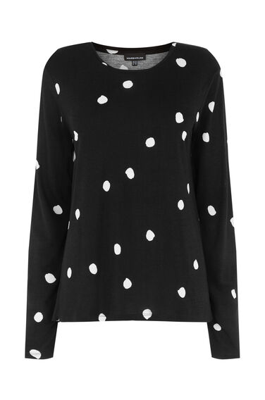 Warehouse, DOTTY LONG SLEEVE TOP Black 0