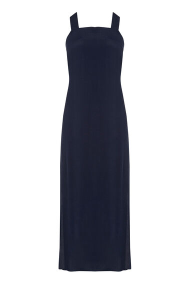 Warehouse, CROSS BACK MIDI DRESS Navy 0
