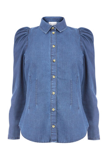 Warehouse, PUFF SLEEVE SHIRT Mid Wash Denim 0