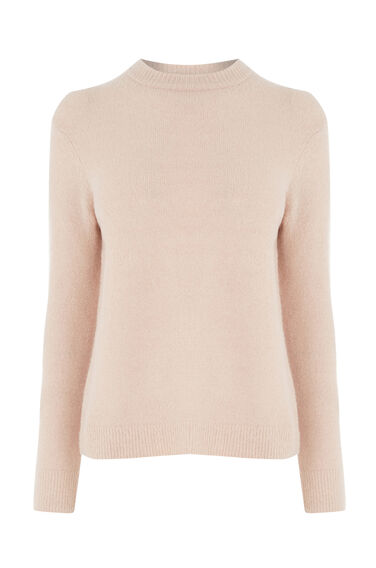 Warehouse, BOUCLE CREW JUMPER Light Pink 0