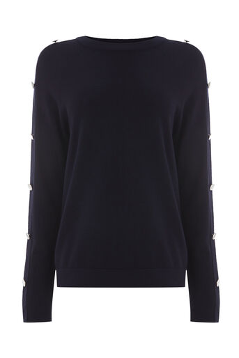 Warehouse, BUTTON SLEEVE JUMPER Navy 0