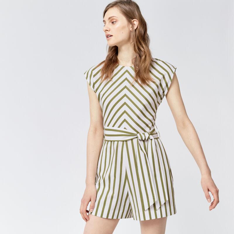 Warehouse, STRIPE BELTED PLAYSUIT Green Stripe 1