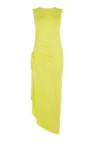 Warehouse, RUCHE SLEEVELESS MIDI DRESS Yellow 0