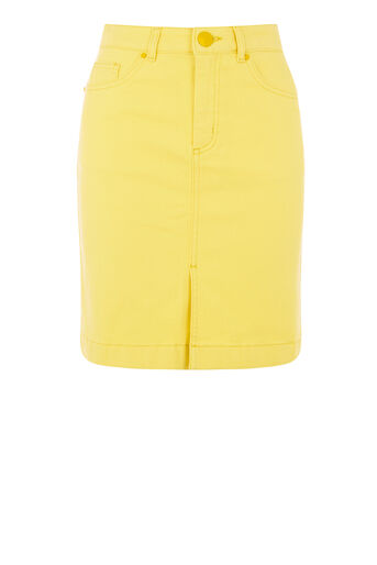 Warehouse, Split Front Denim Skirt Yellow 0