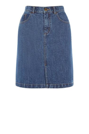 Warehouse, Denim Split Front Skirt Mid Wash Denim 0