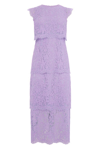 Warehouse, TWO TONE TIERED LACE DRESS Multi 0
