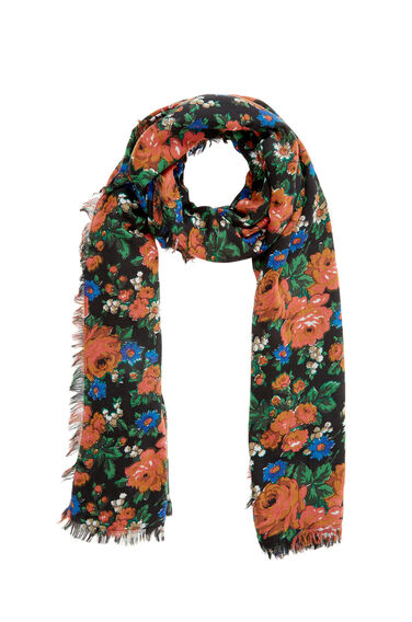 Warehouse, Lupita Rose Print Scarf Black Pattern 0