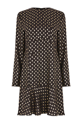Warehouse, METALLIC SPOT RUFFLE HEM DRESS Black Pattern 0