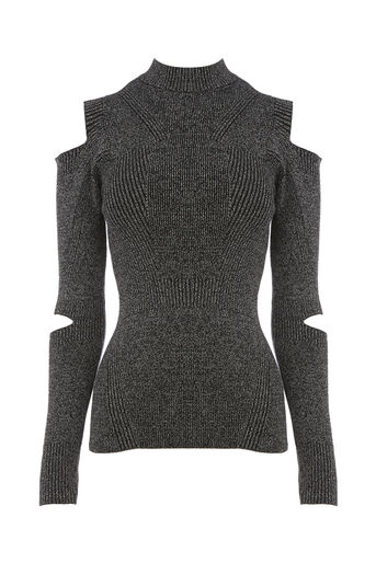 Warehouse, SLASH SLEEVE RIB JUMPER Dark Grey 0