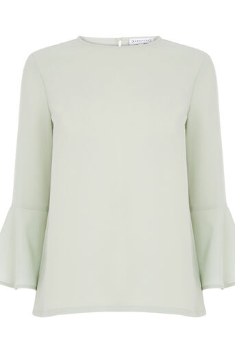 Warehouse, FLUTED SLEEVE TOP Mint 0