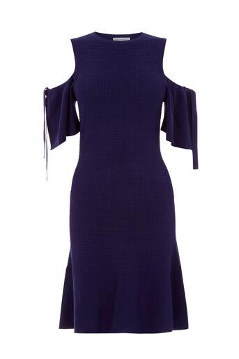 Warehouse, Bewerkte jurk met opengewerkte schouders Marineblauw 0