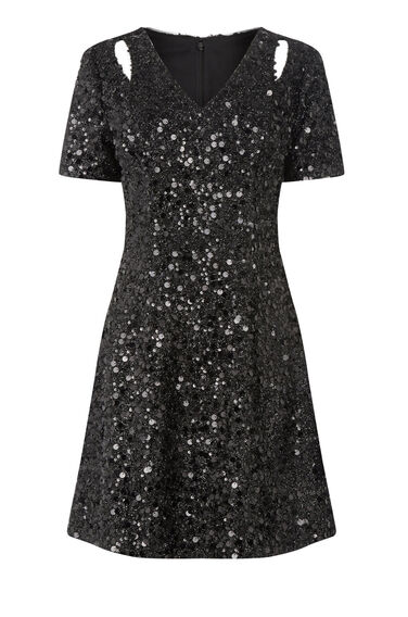 Warehouse, SEQUIN FLIPPY DRESS Black 0