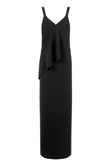 Warehouse, V NECK CREPE RUFFLE MAXI DRESS Black 0