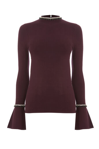 Warehouse, EMBELLISHED FLARE CUFF JUMPER Berry 0