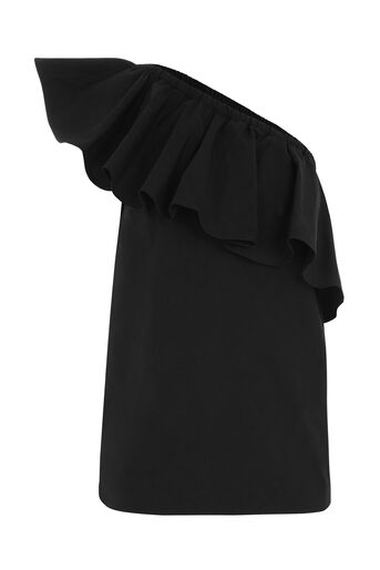 Warehouse, COTTON RUFFLE ONE SHOULDER TOP Black 0