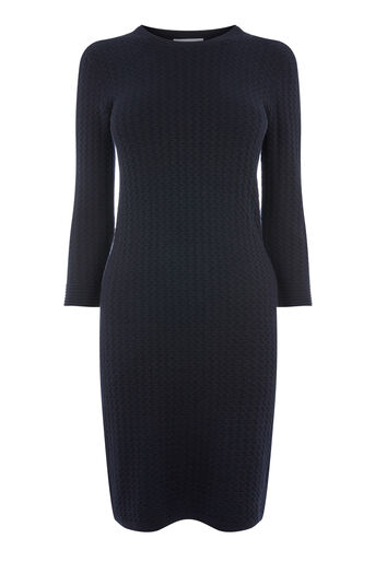 Warehouse, RIPPLE STITCH KNIT DRESS Navy 0