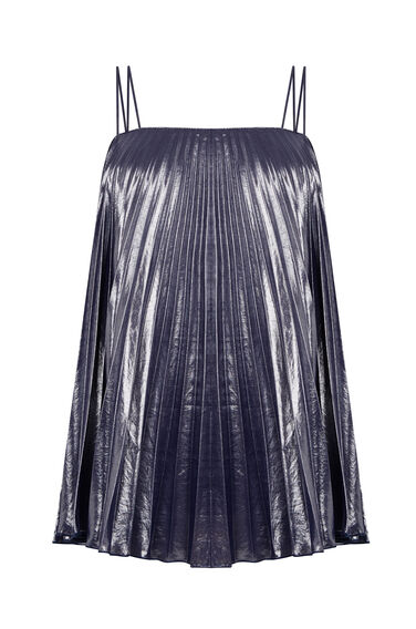 Warehouse, PLEATED LAMÉ CAMI Silver Colour 0