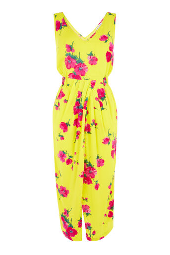 Warehouse, DELIA FLOWER SLEEVELESS DRESS Yellow 0